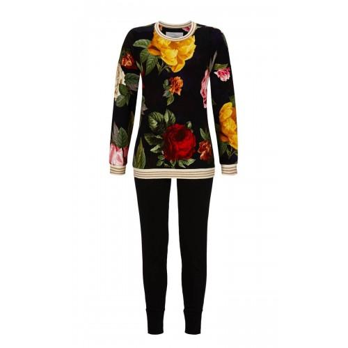 Ringella Cherie Line dames pyjama met legging (zwart, 9571211-900)