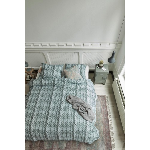 At home dekbedovertrek Fold (groen-grijs)