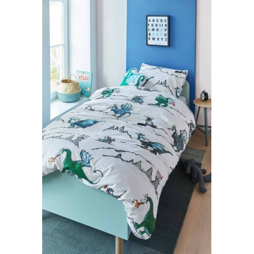 Beddinghouse dekbedovertrek Dragons (blauw-groen)