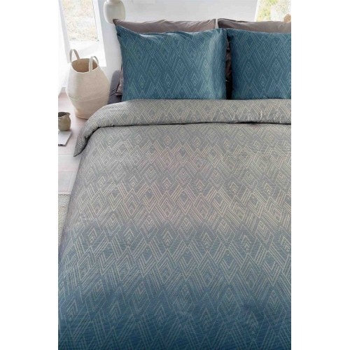 Beddinghouse dekbedovertrek Calton (satijn, blauw-grijs)