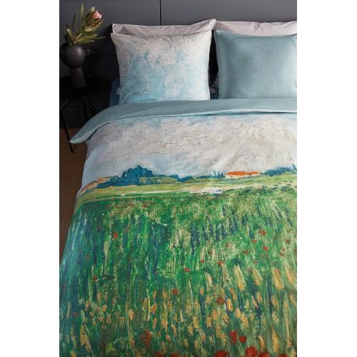 Beddinghouse x Van Gogh dekbedovertrek Field with Poppies (satijn, green)