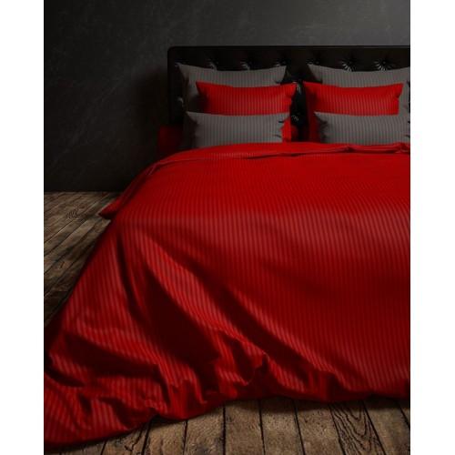 Heckett Lane dekbedovertrek Satin Uni Stripe (rood)