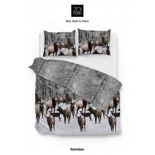 Zo! Home flanellen dekbedovertrek Reindeer (taupe-grijs)
