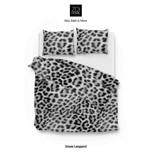 Zo! Home flanellen dekbedovertrek Snow Leopard (grijs)