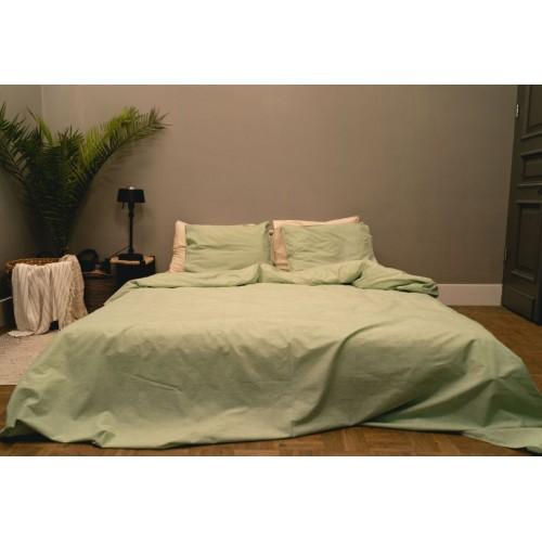 Kayori bio-katoenen dekbedovertrek Sari (groen)