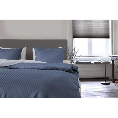 Refined dekbedovertrek Satin Uni Stripe (Steel Blue)