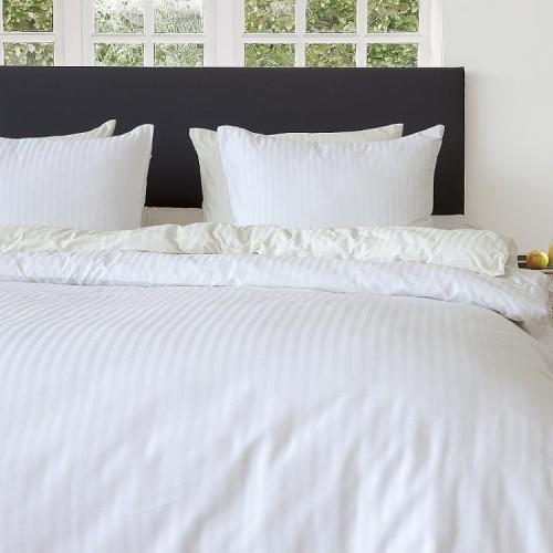 Briljant hotel dekbedovertrek Satin Stripe 140x200/220 (wit)