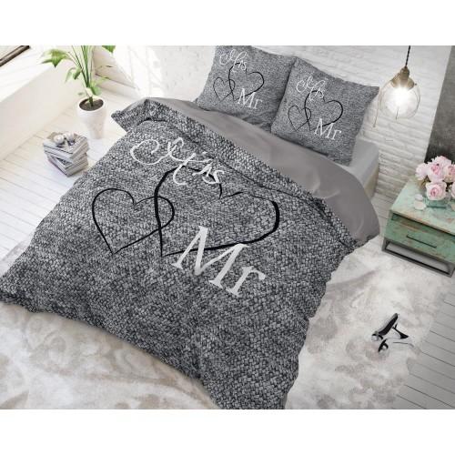 Sleeptime dekbedovertrek Mr and Mrs 3 (antraciet)