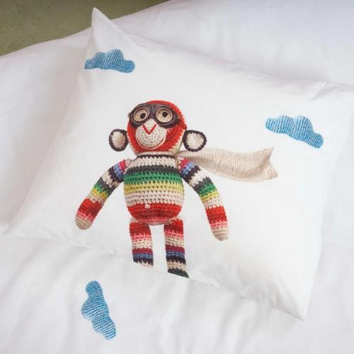 Snurk peuterdekbedovertrek 120x150 Airplane Monkey