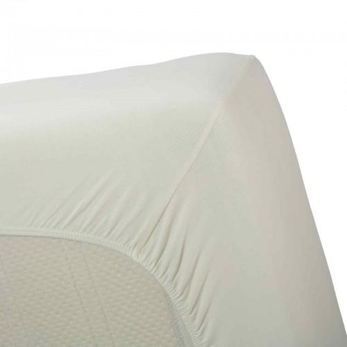 Jersey elastan hoeslaken met split | ook geschikt voor toppers (offwhite)