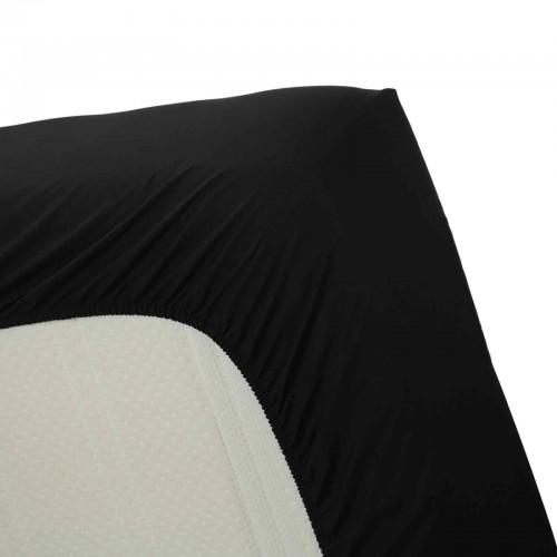 Katoenen hoeslaken zwart (hoekhoogte 30cm)