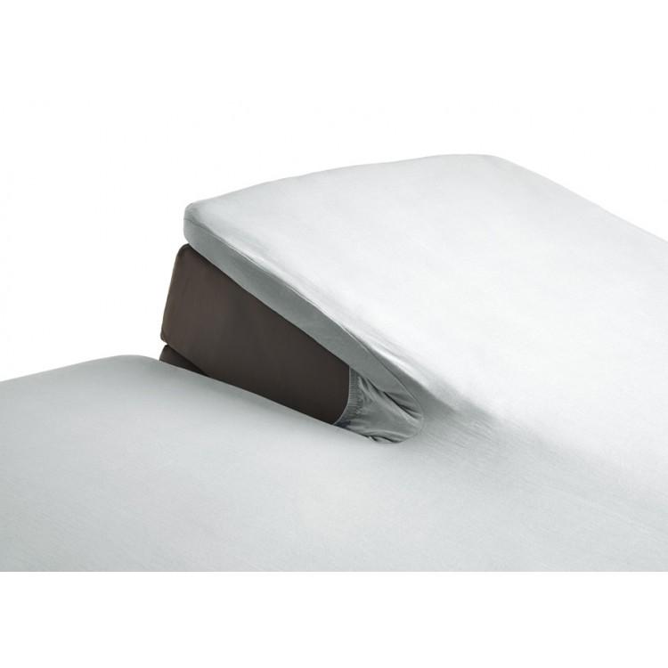 satijnen topper hoeslaken met split wit 87185180300212. Black Bedroom Furniture Sets. Home Design Ideas