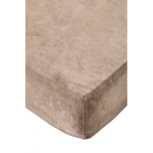 Residence collectie badstof velours hoeslaken (taupe)