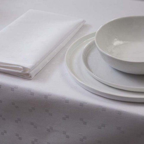 DDDDD damast tafellaken Quadrat (150x250cm, wit)
