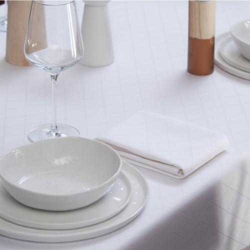 DDDDD damast tafellaken Rhombus (150x350cm, wit)