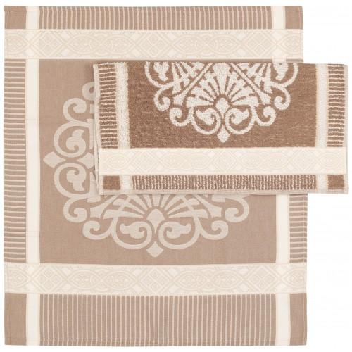 Twentse Damast theedoek Ornament (beige)