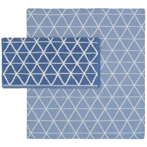Twentse Damast theedoek Triangle (blauw)
