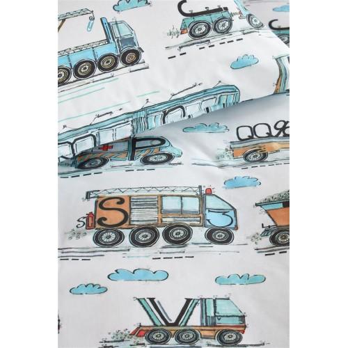 Beddinghouse peuterdekbedovertrek Letter Car (blauw)