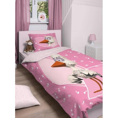 Fabeltjeskrant dekbedovertrek Mevrouw Ooievaar (roze)