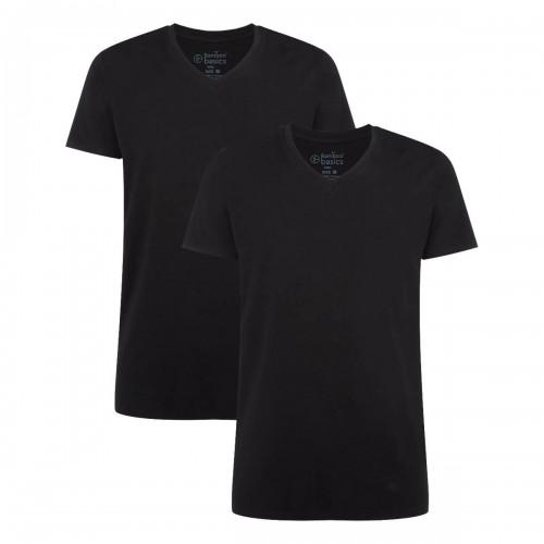 Bamboo Basics T-shirt Velo-003 (zwart, v-hals, 2-pack)
