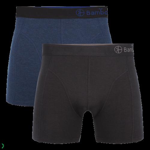 Bamboo Basics Boxershort Levi-006 (zwart-blauw, 2-pack)