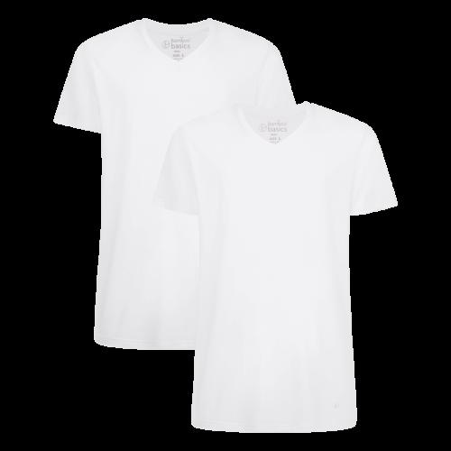 Bamboo Basics T-shirt Velo-001 (wit, v-hals, 2-pack)