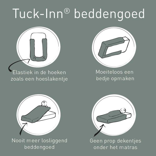 Witlof for kids Tuck-Inn peuterdekbedovertrek Beleaf (warm grey-wit)