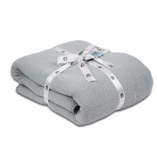 Katoenen Pique winter deken mid grey 100x150 (ledikant)