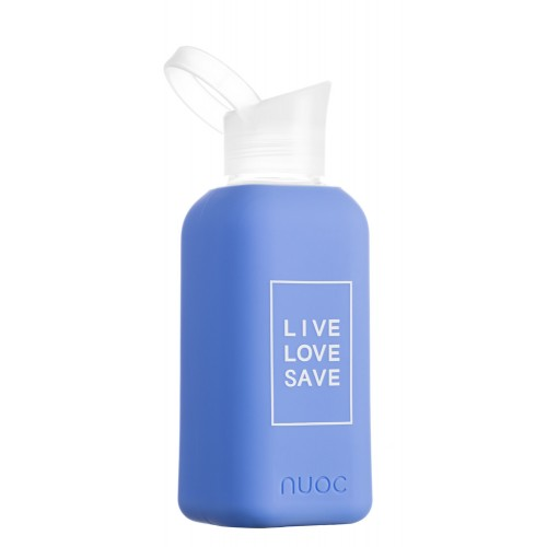 Nuoc Live Love, Save drinkfles Blue Palm (glas + siliconen hoes)