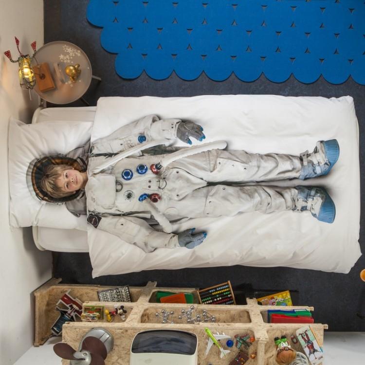 Snurk flanellen dekbedovertrek Astronaut