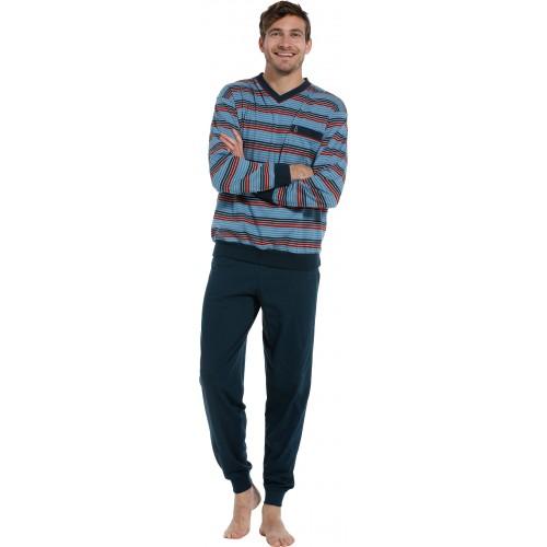 Robson tricot pyjama met boordjes (dark blue, 27202-707-2)