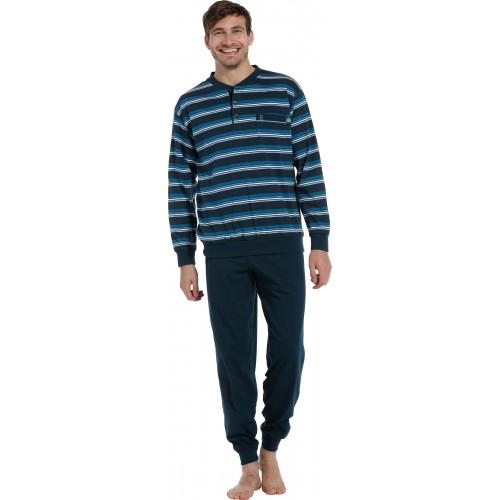 Robson tricot pyjama met boordjes (dark blue, 27202-708-4)