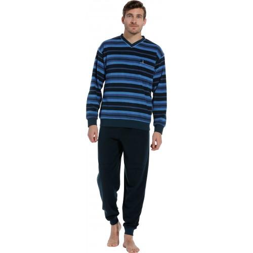 Robson badstof pyjama met boordjes (dark blue, 27202-711-2)