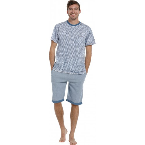 Pastunette pyjama shirt korte mouw (blue, 4399-607-2)