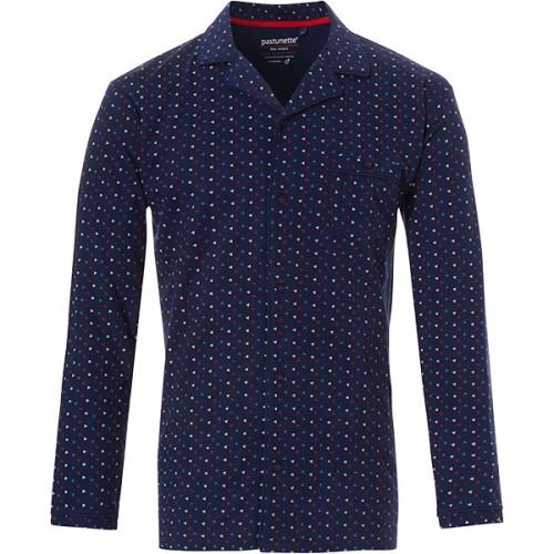 Pastunette pyjama shirt lange mouw doorknoop (blauw, 4399-624-6)