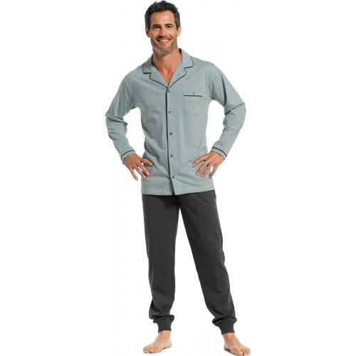 Pastunette pyjama shirt lange mouw doorknoop (light green, 4399-628-6)