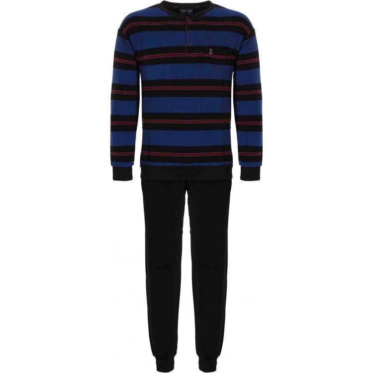 847ee1a01d1 Robson badstof pyjama met boordjes (blauw, 27182-711-4)