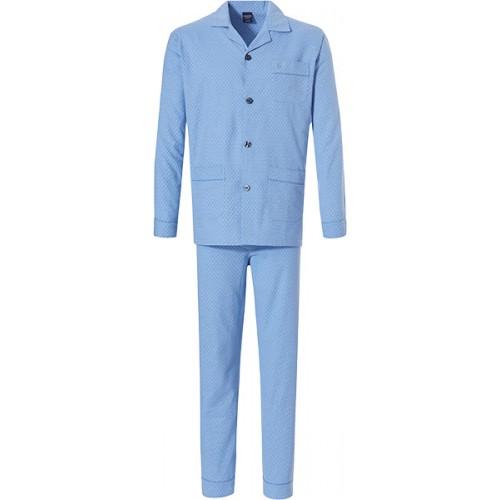 Robson flanellen doorknoop pyjama (skyblue, 27192-701)