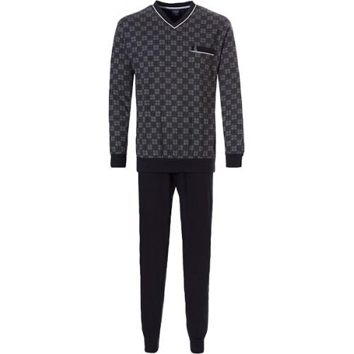 Robson tricot pyjama met boordjes (black caviar, 27192-703-2)