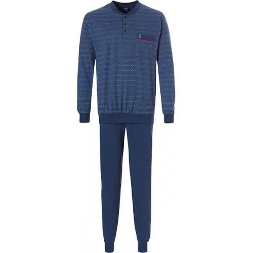 Robson tricot pyjama met boordjes (navy, 27192-710-4)