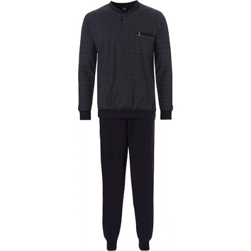 Robson tricot pyjama met boordjes (black caviar, 27192-710-4)
