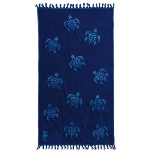 Seahorse strandlaken / hamamdoek Tartaruga (ocean blue, 100x180cm)